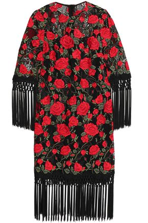 DOLCE & GABBANA Tasseled embroidered cotton-blend mesh dress