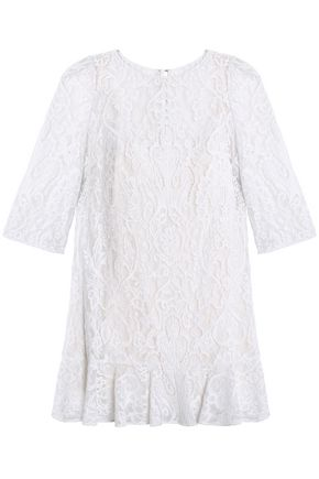 DOLCE & GABBANA Ruffle-trimmed corded lace mini dress