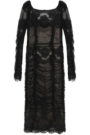 DOLCE & GABBANA Scalloped embroidered tulle and lace dress