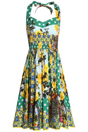 DOLCE & GABBANA Shirred printed cotton-poplin halterneck dress