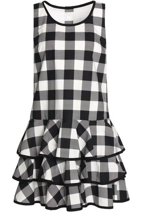 DOLCE & GABBANA Tiered gingham cotton mini dress
