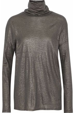 MAJESTIC FILATURES Metallic-coated cotton, cashmere and silk-blend turtleneck top