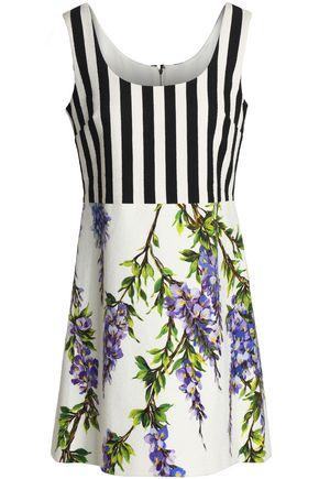 DOLCE & GABBANA Paneled printed cotton-blend mini dress