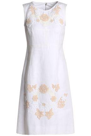 DOLCE & GABBANA Macramé-trimmed linen and cotton-blend mini drss