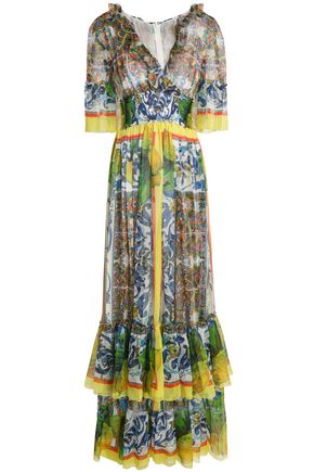 DOLCE & GABBANA Ruffled printed silk-voile maxi dress