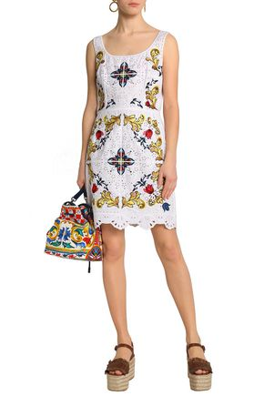 DOLCE & GABBANA calloped embroidered cotton-blend broderie anglaise dress