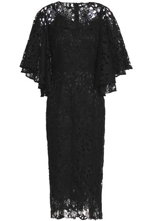DOLCE & GABBANA Draped cotton and silk-blend lace dress