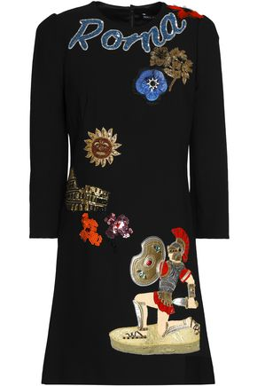 DOLCE & GABBANA Embellished crepe mini dress