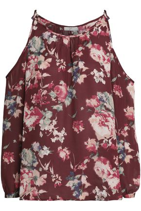 JOIE Jilette cold-shoulder floral-print silk blouse
