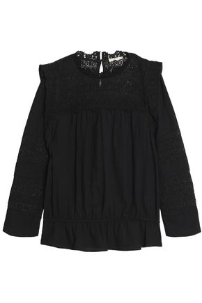 JOIE Florencia crochet-paneled gathered cotton blouse
