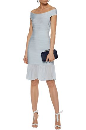 HERVÉ LÉGER Off-the-shoulder pleated crepe de chine-paneled bandage dress