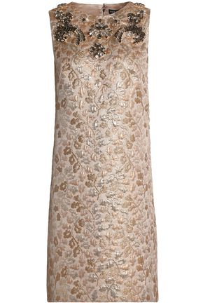 DOLCE & GABBANA Crystal-embellished brocade mini dress