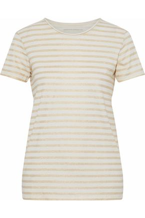 MAJESTIC FILATURES Metallic striped cotton and cashmere-blend jersey T-shirt