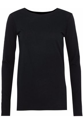 MAJESTIC FILATURES Cotton and cashmere-blend jersey top