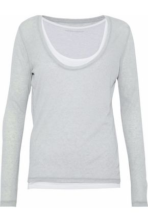 MAJESTIC FILATURES Layered cashmere and modal-blend top