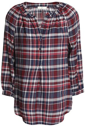 JOIE Checked cotton-flannel blouse
