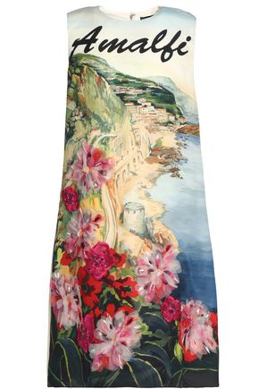 DOLCE & GABBANA Paneled printed crepe dress