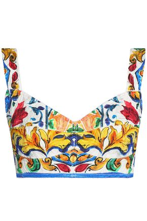 DOLCE & GABBANA Cropped printed cotton-blend jacquard bustier top