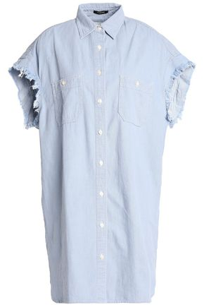 R13 Oversized frayed cotton-chambray shirt