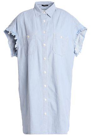 R13 Oversized frayed cotton-chambray shirt