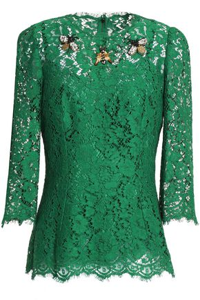 DOLCE & GABBANA Embellished corded lace top