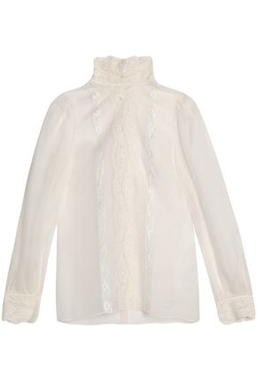 DOLCE & GABBANA Lace-trimmed silk-blend organza turtleneck blouse