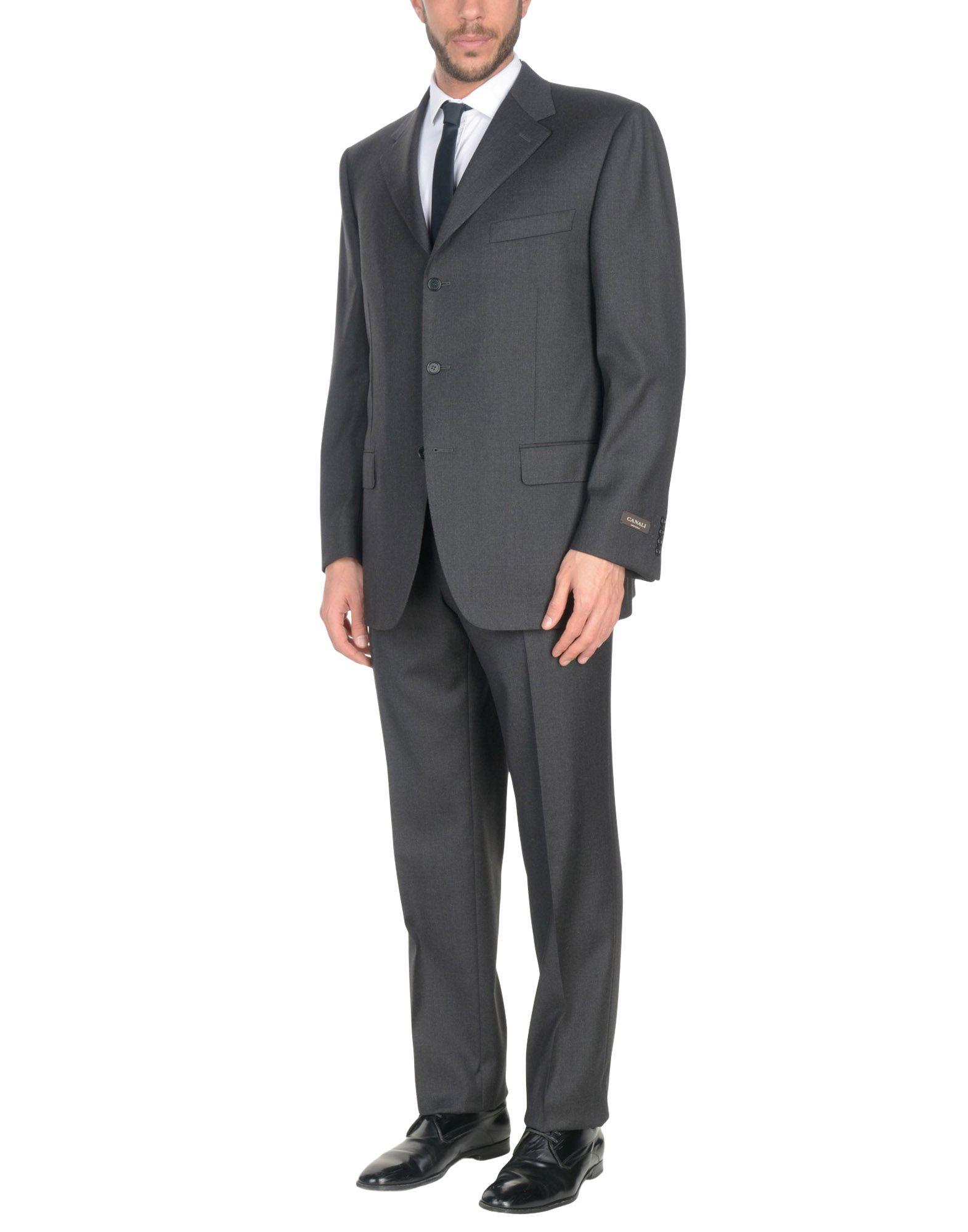 《送料無料》CANALI メンズ スーツ スチールグレー 46 バージンウール