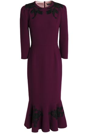 Fluted Appliquéd Wool Crepe Midi Dress by Dolce & Gabbana