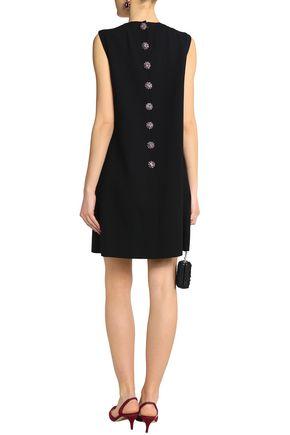 DOLCE & GABBANA Embellished wool-blend crepe mini dress