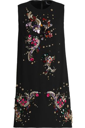 DOLCE & GABBANA Embellished stretch-wool crepe mini dress