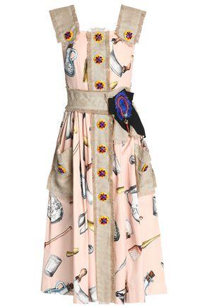 DOLCE & GABBANA Canvas-trimmed embellished printed cotton-blend midi dress
