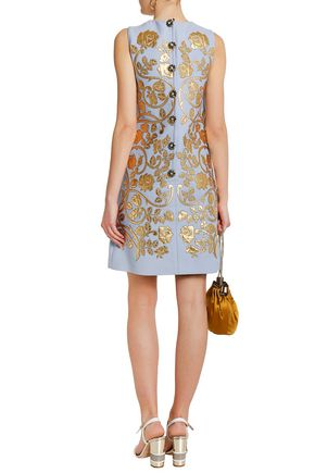 DOLCE & GABBANA Metallic leather-trimmed wool-crepe mini dress