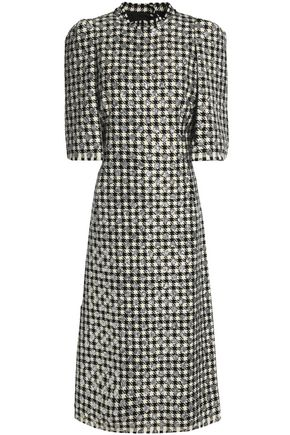 DOLCE & GABBANA Metallic houndstooth wool-blend midi dress