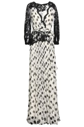 DOLCE & GABBANA Wrap-effect two-tone lace-paneled georgette silk-blend maxi dress