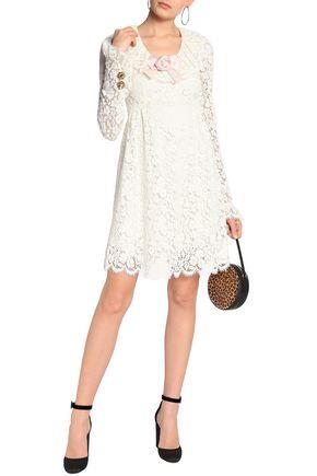 f58ef72ed40 DOLCE   GABBANA Satin-appliquéd corded-lace mini dress