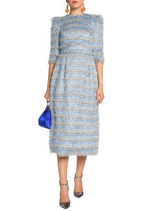 446e15cbac26 DOLCE   GABBANA Striped metallic tinsel midi dress