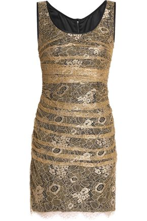 DOLCE & GABBANA Layered ruched corded lace mini dress