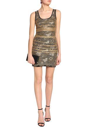 DOLCE & GABBANA Layered ruched corded lace mini dress