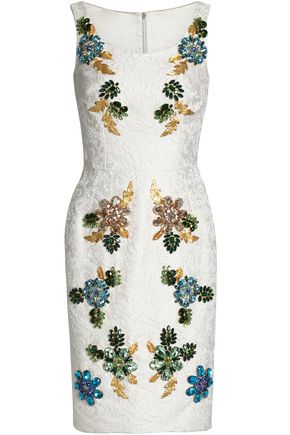 DOLCE & GABBANA Embellished cotton and silk-blend jacquard dress