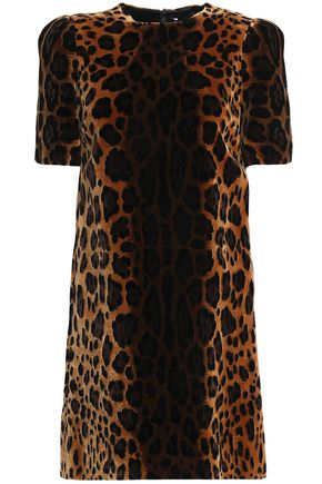 DOLCE & GABBANA Leopard-print velvet mini dress