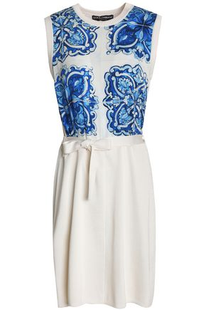 DOLCE & GABBANA Printed crepe de chine-paneled silk mini dress