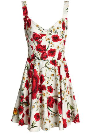 DOLCE & GABBANA Pleated floral-print cotton-blend bouclé mini dress