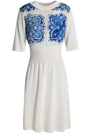 DOLCE & GABBANA Printed crepe de chine-paneled silk dress