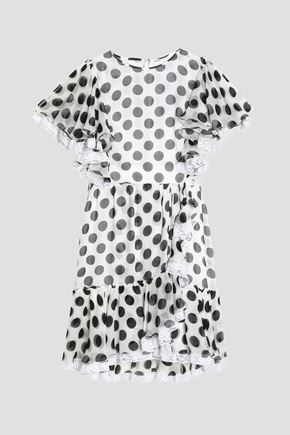 DOLCE & GABBANA Ruffle-trimmed polka-dot silk-blend chiffon mini dress