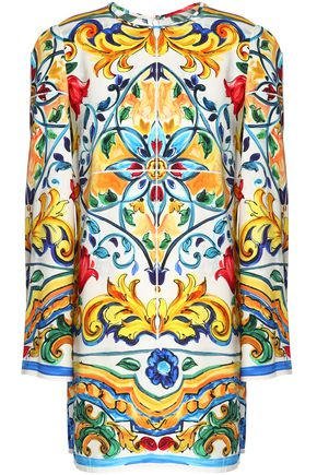 DOLCE & GABBANA Printed stretch-silk tunic