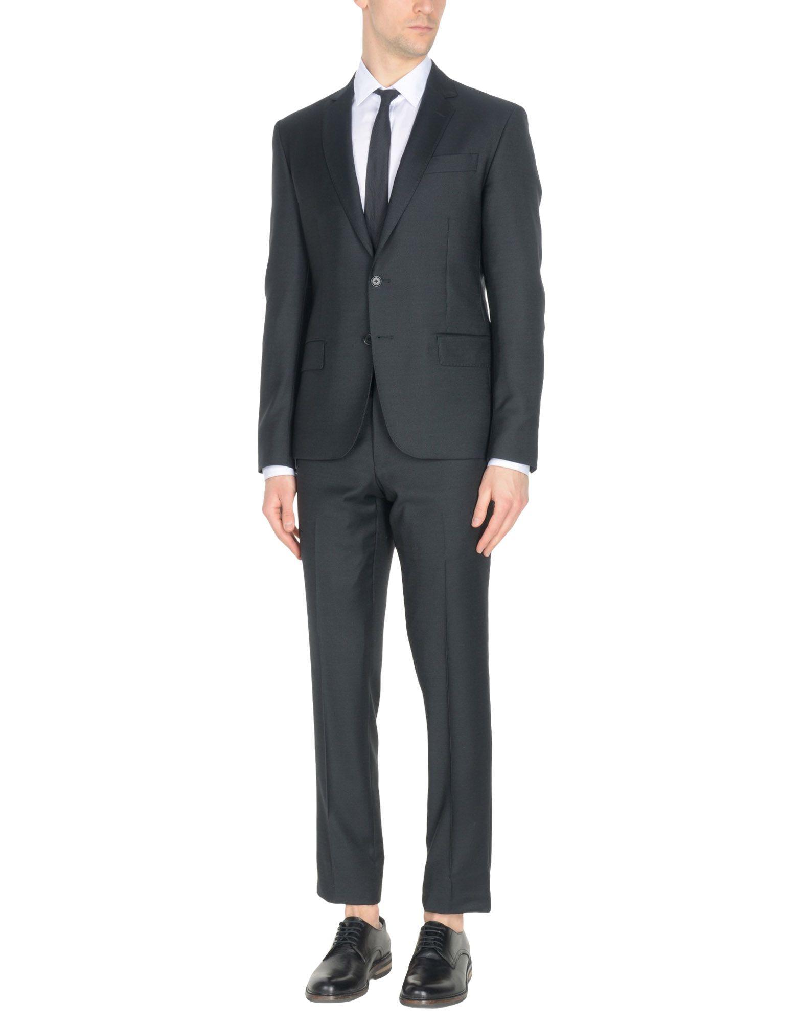 《送料無料》PIERRE BALMAIN メンズ スーツ ブラック 54 バージンウール 100%