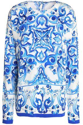 DOLCE & GABBANA Printed stretch-silk blouse