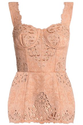 Broderie Anglaise Trimmed Cotton Blend Jacquard Bustier Top by Dolce & Gabbana