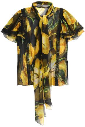 DOLCE & GABBANA Pussy-bow floral-print silk-blend chiffon blouse