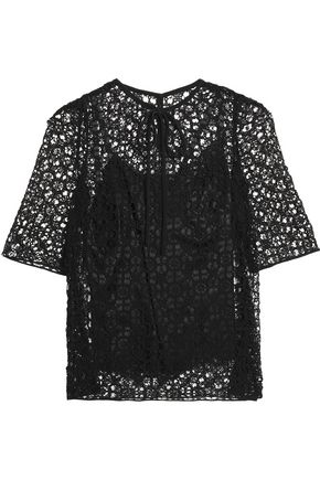 DOLCE & GABBANA Cotton and silk-blend macramé lace top